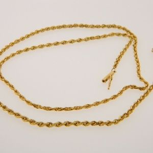 "Other - 14K 21"" Solid Gold  Rope Chain Necklace 1.5mm"